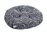 Gentle Meow 2 Pack Japanese-Style Round Tatami Cushions, Waves Patterned Bay Window Cushions