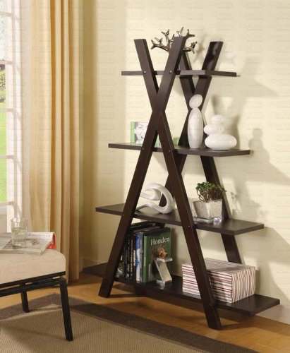 Bookcase with X Shape in Cappuccino Finish NoPart 800267