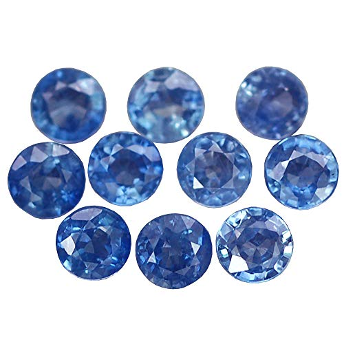 Ploythai 3.21CT MARVELOUS AA 10PCS HEATED ONLY 4.0MM ROUND BLUE SAPPHIRE - Heated Round Blue Sapphire