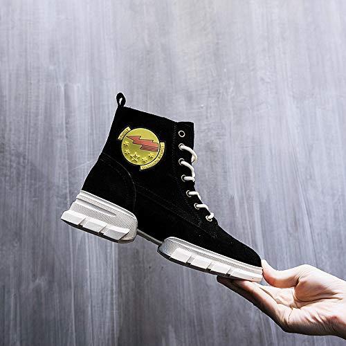 SWEAAY stivali Stivali Stivali Stivali da Donna in Pelle Martin Scamosciati Stivali con Lacci Fondo Opaco Spesso Scarpe Antiscivolo Antiusura Antiscivolo, Nere, 36 3a52ac