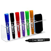 Clear Acrylic Wall Mountable 6 Slot Dry Erase Marker & Eraser Holder Organizer Rack - MyGift®