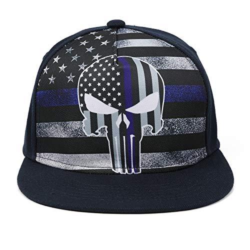 (Odelia Walter Flag Skull Flat Bill Snapbacks Mesh Baseball Caps Trucker Hat (Flag Skull))