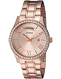 GUESS Women's U0764L3 Vintage-Inspired Rose Gold-Tone Watch
