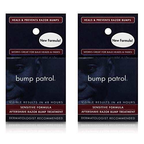 Bump Patrol Sensitive Strength Aftershave Formula - Gentle After Shave Solution Eliminates Razor Bumps and Ingrown Hairs - 0.5 Ounces 2 Pack