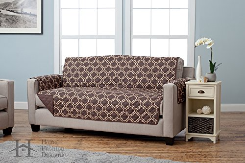 Home Fashion Designs Adalyn Collection Printed Stain Resistant Furniture Protector Sofa, Chocolate (Sofa Covers For Leather Sofa)