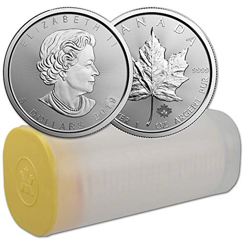 2019 Lot of (25) 1oz Silver Maple Leaf $5 Brilliant Uncirculated (1 Tube) (1 Oz Canadian Gold Maple Leaf Price)