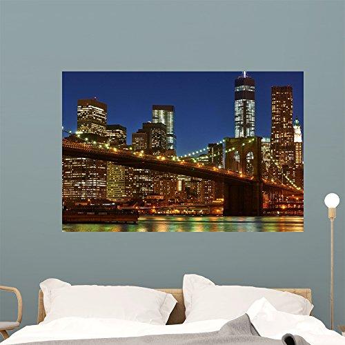 Wallmonkeys FOT-100128074-48 WM360004 Brooklyn Bridge with Lower Manhattan Skyline at Night Peel and Stick Wall Decals (48 in W x 32 in H), x x Large (Bridge Manhattan Silhouette)