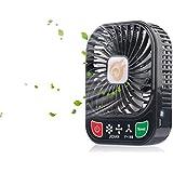 D-FantiX 4-inch Portable Fan 3 Speeds Mini USB Fan Rechargeable Desktop Fan Handheld Fan Battery Operated with LED Light (Black)