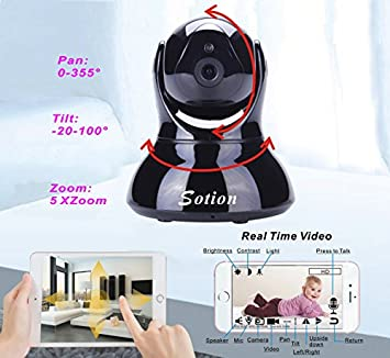 Sotion 1080P Baby Monitor, HD Wireless Pet Camera with Two Way Audio and Night Vision for Home Indoor Security, Internet IP Surveillance WiFi Dome Camera System with Motion Detection, Pan and Tilt