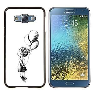 Chica Madre Tinta Negro Blanco- Metal de aluminio y de plástico duro Caja del teléfono - Negro - Samsung Galaxy E7 / SM-E700