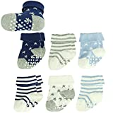 ComiFun Unisex Boys Girls Baby Walker Non Skid Ankle Cotton Knit Cotton Knitted Crew Boot Socks 6 Pairs