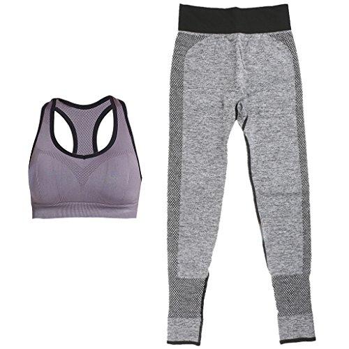 MagiDeal 2 Piezas Activewear Sujetador Empujar Hacia Arriba Alambre Yoga Y Pantalones Deportivo Polainas gris