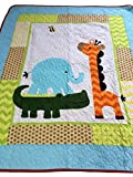 100% Cotton Giraffe and Crocodile Printed Blanket Baby Quilted Quilt 43''X51''