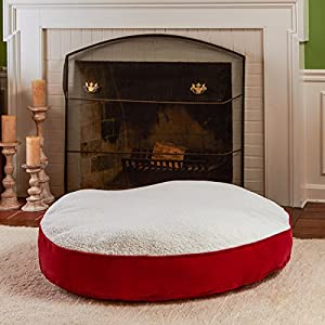 B0045DXSIOYLL Happy Hounds Scout Deluxe Round Dog Bed, Large 42-Inch, Crimson/Sherpa