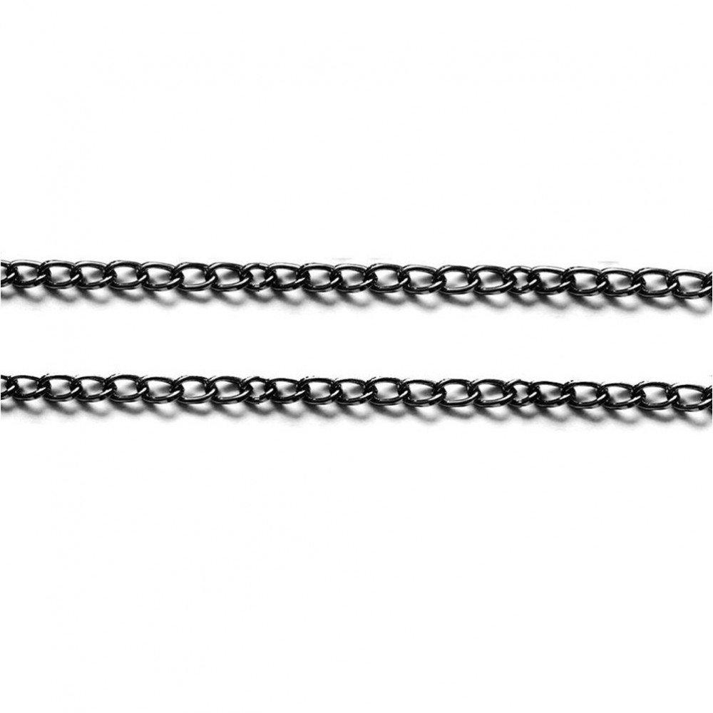 colore: nero 1 m dimensioni: 9 x 5 mm Catena a maglia piatta ovale in alluminio