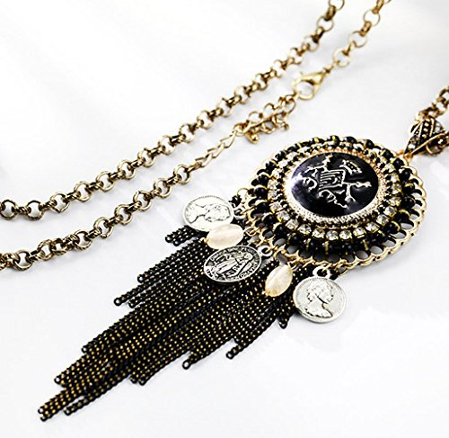 Charm Accessories Bohemia Vintage Tassel Ornament Pendant Chain Champagne Plated?Long sweater Necklace