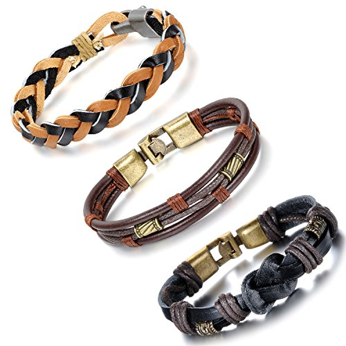 Aroncent 3 Pcs Mens Vintage Leather Wrist Band Brown Rope Bracelet Bangle
