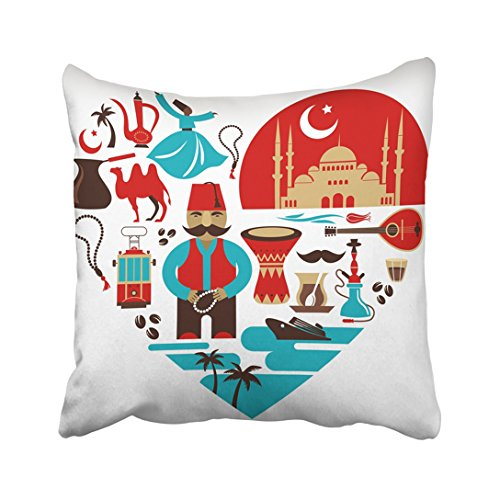 Istanbul Turkey Food - Emvency Throw Pillow Cover Polyester 18X18 Inch Orange Turkish Turkey Heart With Lot Of And Illustrations Tan Istanbul Travel Food Man Hat Two Sides Decorative Square Print Pillowcase For Home
