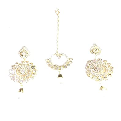 f6f84014f73129 Buy Gold Touch Silver White Stones Designed Maang Tikka with Earrings Set  for Women and Girls Online at Low Prices in India | Amazon Jewellery Store  ...