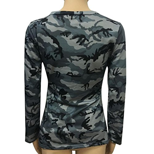 Slim Camouflage Gris Top femmes Casual impression Blouse longues Tops Covermason Fashion chemise manches Blouse vzfTzRAO