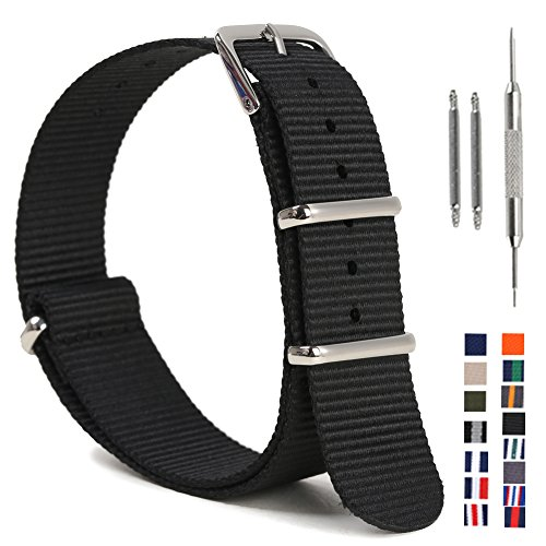 Nato Watch Band,Nylon Replacement Watch Strap with Stainless Steel Rings 16mm 18mm 20mm 22mm 24mm for Man and Woman