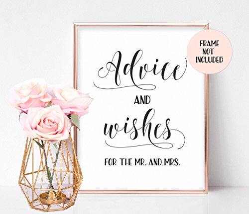 Bridal Shower Signs, Bridal Shower Games, Well Wishes Sign, Wedding Reception Signs, Marriage Advice Sign, Advice and Wishes for the Mr. and Mrs. - UNFRAMED