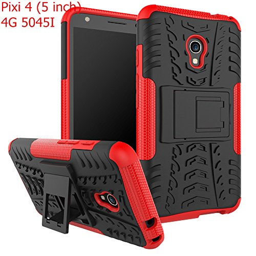 Alcatel Pixi 4 (5 inch) 4G 5045I Case,Mustaner Full-body Protective Case Dual Layer Shock-Absorption Armor Cover with Kickstand Combo PC+TPU...
