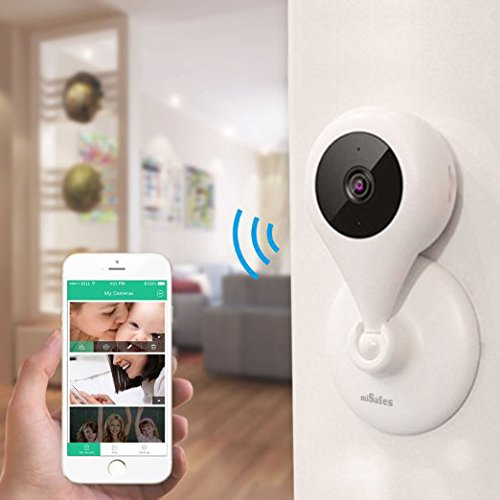 MiSafes 1280x720p HD C303-1 Mini Wireless Surveillance Camera with Microphone Speaker with 2 Way Talk & Remote Monitoring System for iOS & Andriod App, White Image