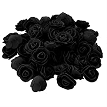 Conjugal Bliss 100PCS Mini Artificial Flower Foam Rose Bridal Wedding Decor Real Touch Roses Heads for DIY Bouquets Party Baby Shower Home Celebration Sugar Box Wreath Decorations (Black)