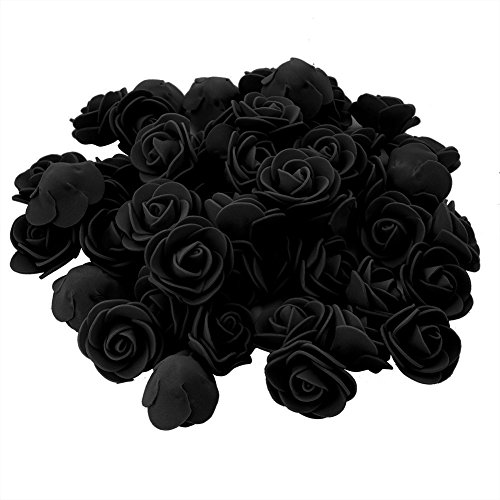 Conjugal Bliss 100PCS Mini Artificial Flower Foam Rose Bridal Wedding Decor Real Touch Roses Heads for DIY Bouquets Party Baby Shower Home Celebration Sugar Box Wreath Decorations (Black) (Gerbera Daisy Boutonniere Wedding)