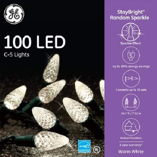 GE 100 LED StayBright Random Sparkle WARM WHITE C5 Lights ()