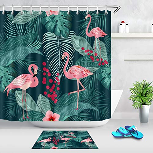LB Tropical Plant Shower Curtain Pink Flamingos with Palm Leaves Fruit Floral Creative Flamingo Shower Curtain Set,72x72 Inch Waterproof Fabric with 16x24 Inch Bath Mat