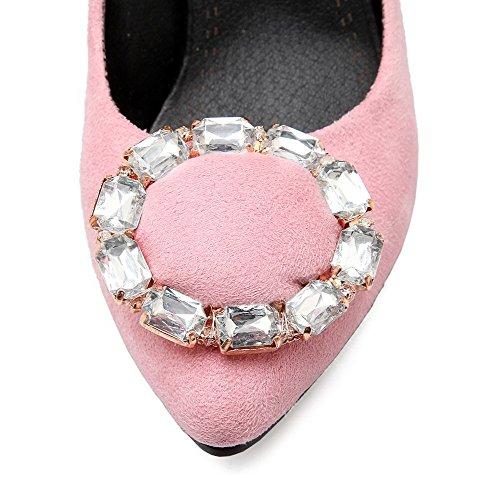 AllhqFashion Mujeres Tacón de aguja Puntera en Punta De salón con Diamante de Imitación Rosa