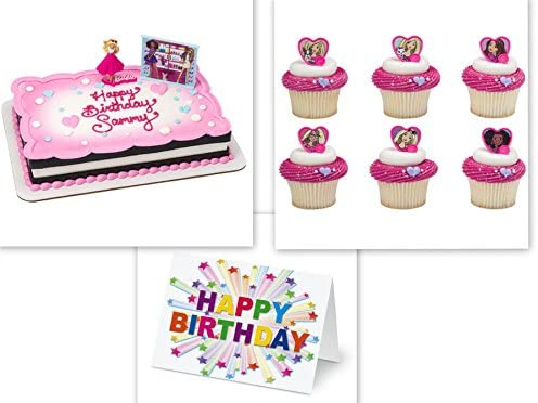 Amazon Deco Barbie Sweet Sparkles Cake Topper Plus 24 Matching Cupcake Rings Birthday Card Toys Games