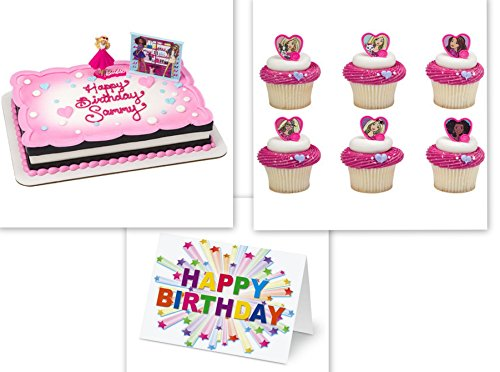 Barbie Sweet Sparkles Cake Topper PLUS 12 Matching Cupcake Rings Plus Birthday Card