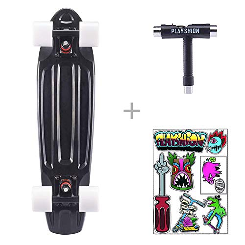 Playshion Complete 22 Inch Mini Cruiser Skateboard for Beginner with Sturdy Deck Black (22 Skateboard Penny)