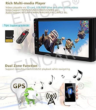 Eincar 7 Car Stereo Android 6.0 16GB ROM Autoradio Bluetooth 4.0 Pantalla Quad Core Multi-Touch EST¨¦REO Unidad de Doble DIN Cabeza Radio de Coche con ...