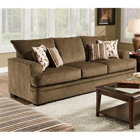 Chelsea Home Furniture Calexico Sofa Cornell Cocoa Azure Platinum Pillows