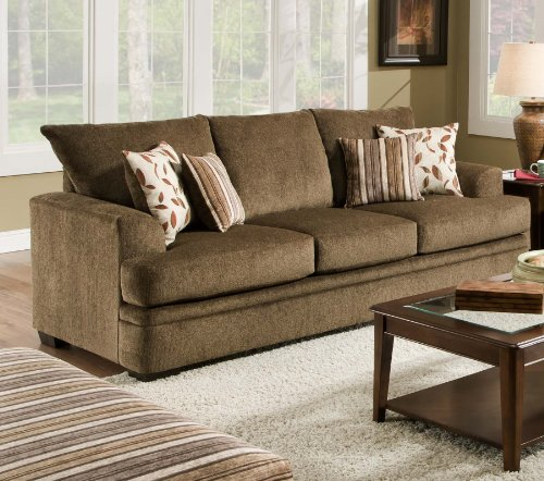 Chelsea Home Furniture Calexico Sofa, Cornell Cocoa/Azure Platinum Pillows