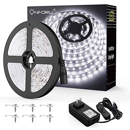 White Led Strip Light (Onforu LED Vanity Mirror Lights Kit, 16.4ft / 5m 300 LEDs Strip Lights for Make up Table, 6000K Daylight White Under Cabinet Lighting Strips, Non-Waterproof LED Tape, UL Listed Power Supply)
