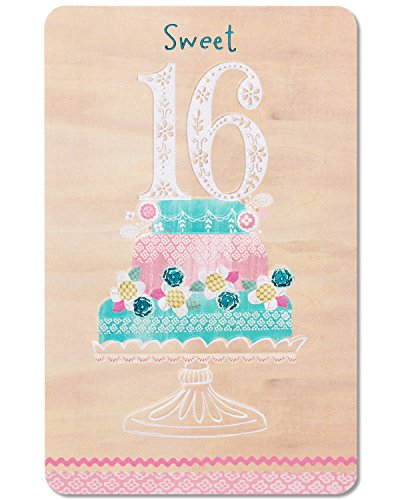 American Greetings Sweet 16 Birthday Cake Birthday Greeting Card with Glitter and Foil