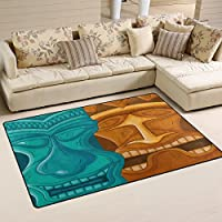 LORVIES Hawaiian Tiki Tribal Mask Area Rug Carpet Non-Slip Floor Mat Doormats for Living Room Bedroom 60 x 39 inches