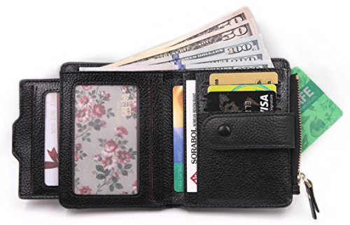 Women's Mini Soft Leather Wallet with ID Window Card Sleeve Bifold Wallet Coin Purse (black) ()
