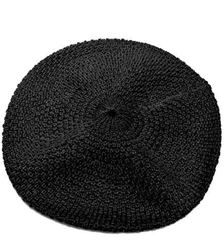 100% Pure Baby Alpaca Knit Beret - Soft Slouchy Style Tam for Women (Black)
