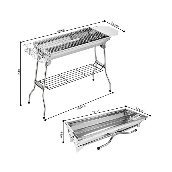 Fixget Barbecue Grill, Grill Barbecue Carbone Griglia Barbecue per 5-10 Persone, Utensile BBQ Grill Barbecue Carbone… 2 spesavip