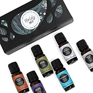 HOLIDAY Essential Oil 100% Pure Therapeutic Grade Aromatherapy Sampler Set- 6/ 10 ml of Cinnamon Leaf, Hope, Pine, Silver Fir, Spearmint and Vanilla by Edens Garden