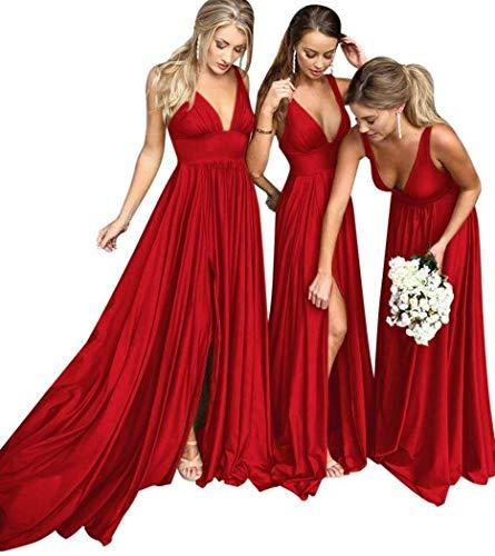 f9231939e26 Bridesmaid Dress Long V Neck Backless Split Prom Dress Evening Gowns for  Women 2019