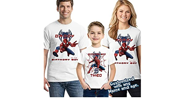 34d53fe7 Amazon.com: Spider-man Birthday Shirt Add Name & Age Spiderman Custom  Birthday Party TShirt: Handmade