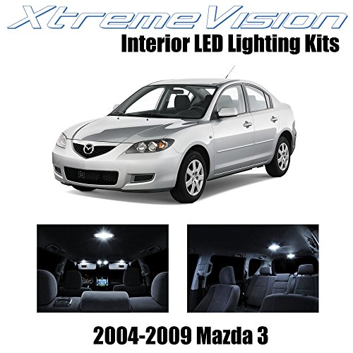 2009 10 Piece - XtremeVision Interior LED for Mazda 3 MS3 2004-2009 (10 Pieces) Pure White Interior LED Kit + Installation Tool