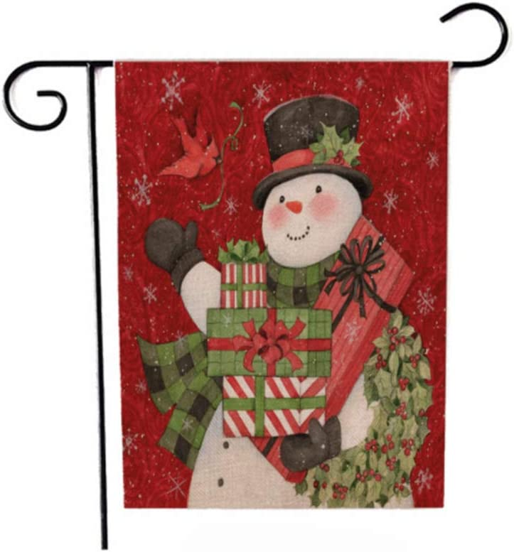 Cemtetnech Christmas Garden Sign, Winter Yard Sign with Snowman, Bird, Winter Holiday Christmas Yard Double-Sided Sign Christmas Lawn Outdoor Indoor Christmas Decoration 12 x 18 inches